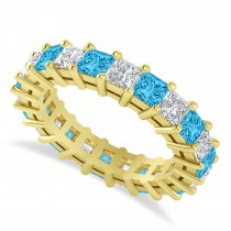 Princess Cut Diamond & Blue Topaz Eternity Wedding Band 14k Yellow Gold (4.18ct)