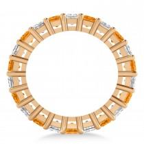 Princess Diamond & Citrine Wedding Band 14k Rose Gold (4.18ct)