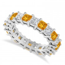 Princess Cut Diamond & Citrine Eternity Wedding Band 14k White Gold (4.18ct)