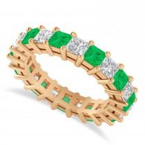 Princess Cut Diamond & Emerald Eternity Wedding Band 14k Rose Gold (4.18ct)
