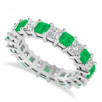Princess Cut Diamond & Emerald Eternity Wedding Band 14k White Gold (4.18ct)