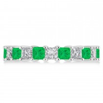 Princess Diamond & Emerald Wedding Band 14k White Gold (4.18ct)