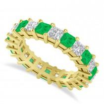 Princess Cut Diamond & Emerald Eternity Wedding Band 14k Yellow Gold (4.18ct)