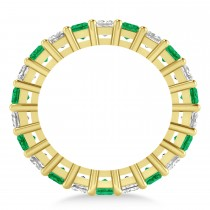Princess Diamond & Emerald Wedding Band 14k Yellow Gold (4.18ct)