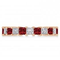 Princess Diamond & Garnet Wedding Band 14k Rose Gold (4.18ct)