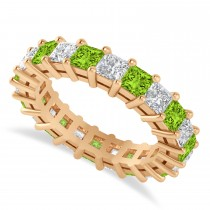 Princess Diamond & Peridot Wedding Band 14k Rose Gold (4.18ct)