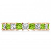 Princess Diamond & Peridot Wedding Band 14k Rose Gold (4.18ct)