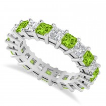 Princess Cut Diamond & Peridot Eternity Wedding Band 14k White Gold (4.18ct)