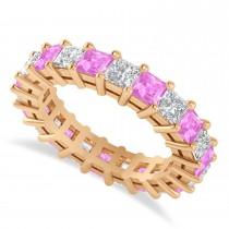 Princess Diamond & Pink Sapphire Wedding Band 14k Rose Gold (4.18ct)