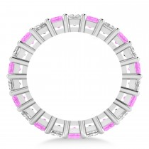 Princess Diamond & Pink Sapphire Wedding Band 14k White Gold (4.18ct)