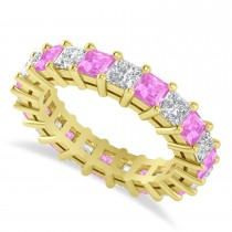 Princess Diamond & Pink Sapphire Wedding Band 14k Yellow Gold (4.18ct)
