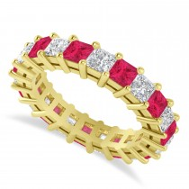 Princess Diamond & Ruby Wedding Band 14k Yellow Gold (4.18ct)