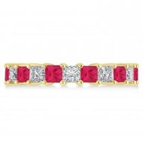 Princess Diamond & Ruby Wedding Band 14k Yellow Gold (4.18ct)