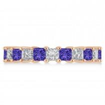 Princess Diamond & Tanzanite Wedding Band 14k Rose Gold (4.18ct)