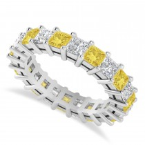 Princess Yellow & White Diamond Wedding Band 14k White Gold (3.96ct)