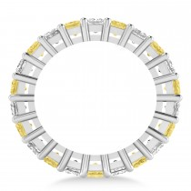 Princess Cut Yellow Diamond Eternity Wedding Band 14k White Gold (3.96ct)