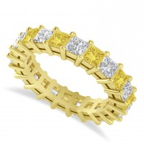 Princess Yellow & White Diamond Wedding Band 14k Yellow Gold (3.96ct)