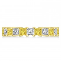 Princess Yellow & White Diamond Wedding Band 14k Yellow Gold (3.96ct)