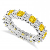 Princess Cut Diamond & Yellow Sapphire Eternity Wedding Band 14k White Gold (4.18ct)