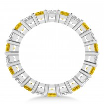 Princess Diamond & Yellow Sapphire Wedding Band 14k White Gold (4.18ct)