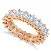 Princess Cut Diamond Eternity Wedding Band 14k Rose Gold (5.51ct)