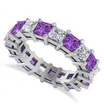 Princess Diamond & Amethyst Wedding Band 14k White Gold (5.61ct)
