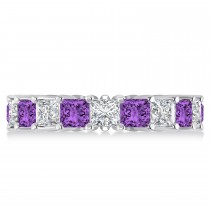 Princess Diamond & Amethyst Wedding Band 14k White Gold (5.61ct)