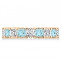 Princess Diamond & Aquamarine Wedding Band 14k Rose Gold (5.61ct)