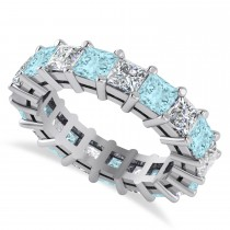 Princess Diamond & Aquamarine Wedding Band 14k White Gold (5.61ct)