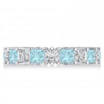Princess Diamond & Aquamarine Wedding Band 14k White Gold (5.61ct)