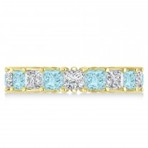 Princess Diamond & Aquamarine Wedding Band 14k Yellow Gold (5.61ct)