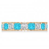 Princess Blue & White Diamond Wedding Band 14k Rose Gold (5.51ct)