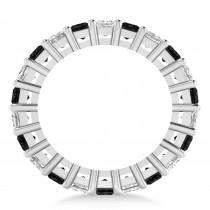 Princess Black & White Diamond Wedding Band 14k White Gold (5.51ct)
