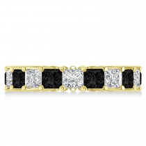 Princess Black & White Diamond Wedding Band 14k Yellow Gold (5.51ct)