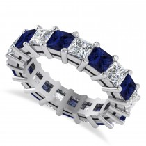 Princess Diamond & Blue Sapphire Wedding Band 14k White Gold (5.61ct)