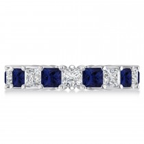 Princess Diamond & Blue Sapphire Wedding Band 14k White Gold (5.61ct)