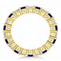 Princess Diamond & Blue Sapphire Wedding Band 14k Yellow Gold (5.61ct)