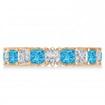 Princess Diamond & Blue Topaz Wedding Band 14k Rose Gold (5.61ct)