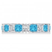 Princess Diamond & Blue Topaz Wedding Band 14k White Gold (5.61ct)