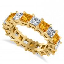 Princess Cut Diamond & Citrine Eternity Wedding Band 14k Yellow Gold (5.61ct)