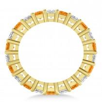 Princess Diamond & Citrine Wedding Band 14k Yellow Gold (5.61ct)