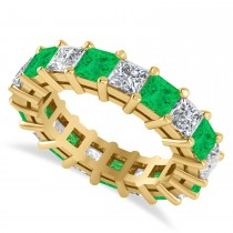 Princess Diamond & Emerald Wedding Band 14k Yellow Gold (5.61ct)
