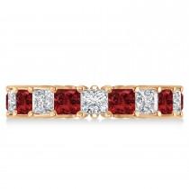 Princess Diamond & Garnet Wedding Band 14k Rose Gold (5.61ct)