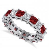 Princess Cut Diamond & Garnet Eternity Wedding Band 14k White Gold (5.61ct)