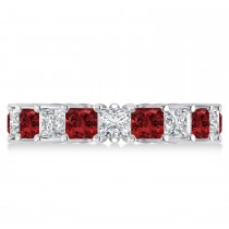 Princess Diamond & Garnet Wedding Band 14k White Gold (5.61ct)