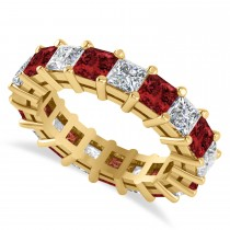 Princess Diamond & Garnet Wedding Band 14k Yellow Gold (5.61ct)