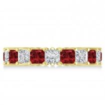 Princess Diamond & Garnet Wedding Band 14k Yellow Gold (5.61ct)