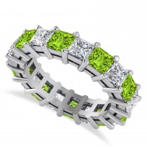 Princess Diamond & Peridot Wedding Band 14k White Gold (5.61ct)