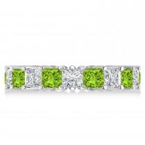 Princess Diamond & Peridot Wedding Band 14k White Gold (5.61ct)
