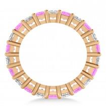 Princess Diamond & Pink Sapphire Wedding Band 14k Rose Gold (5.61ct)